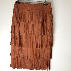 J.O.A. Skirts - J.O.A. Suede Fringe Skirt Boho Western NWT